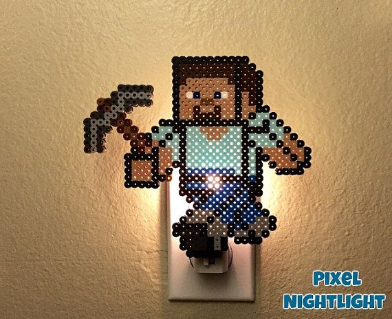 Minecraft kinderzimmer ~ Minecraft steve nightlight night light wall decoration