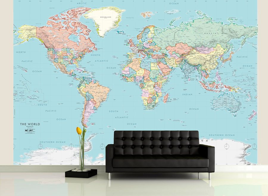 Detailed world political map mural home ideas pinterest paint detailed world political map mural gumiabroncs Image collections