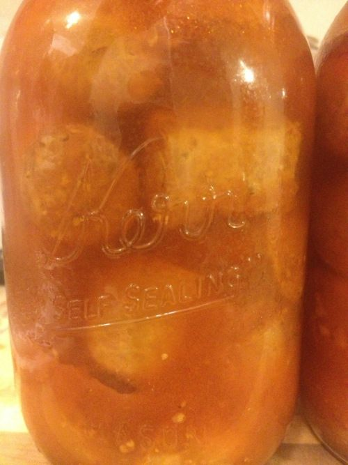 Hot Italian Sausage In Tomato Sauce  - Mason Jars and Mixing Bowls - This recipe won a 1st place Blue Ribbon at the 2013 Arizona State Fair in the Canning Meat category.