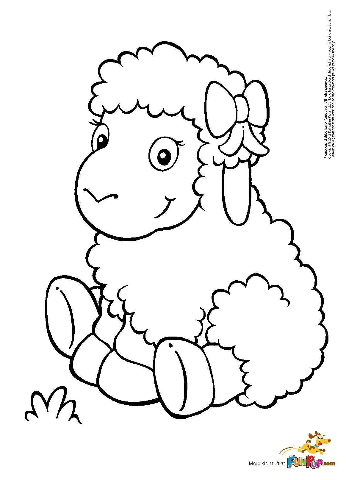 Lamb colouring pages to print - Happy Sheep Coloring Page