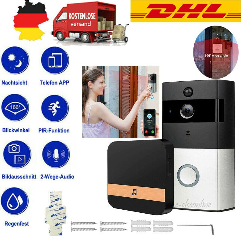 Ring Video Doorbell Video Türklingel mit Kamera HD WLAN Nachtsicht Wireless WiFi