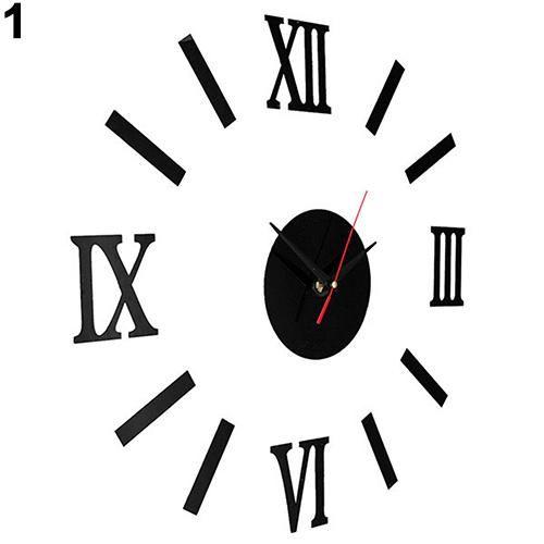 Photo of Vintage Roman Numerals Frameless Wall Clock 3D Home Decor Wall Art Stickers – Black