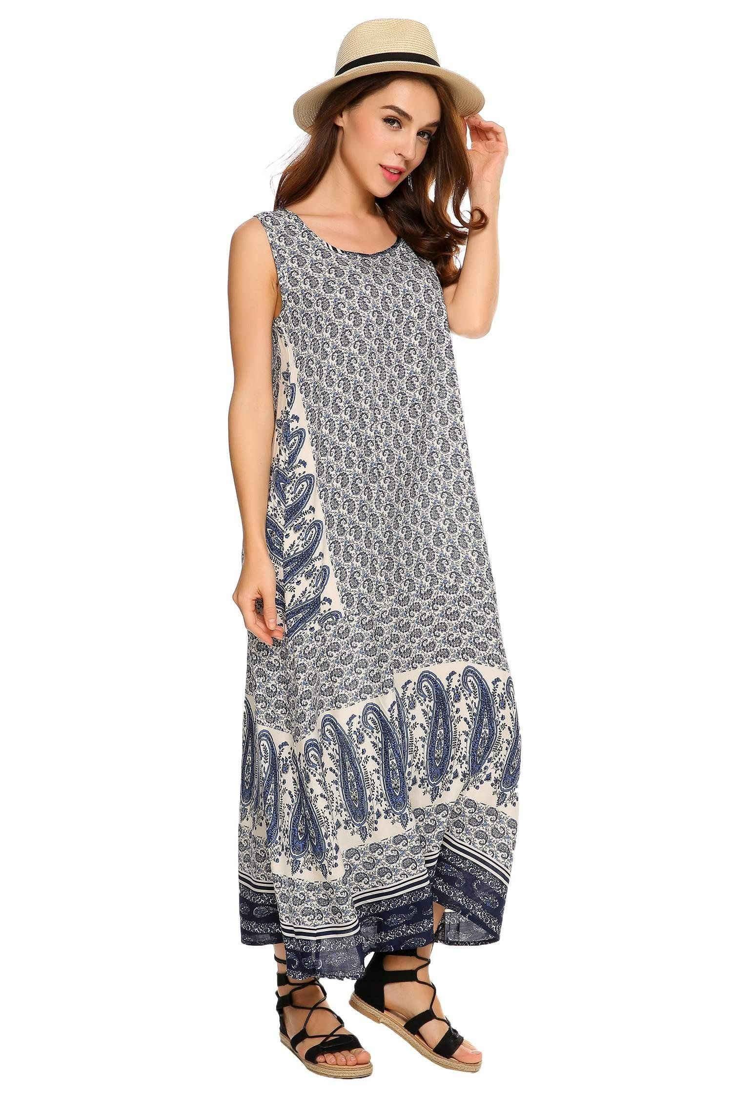 b4e8999a65fe7 Zeela Womens Floral Sleeveless Loose Casual Long Maxi Tank Beach DressBlueL      Click on