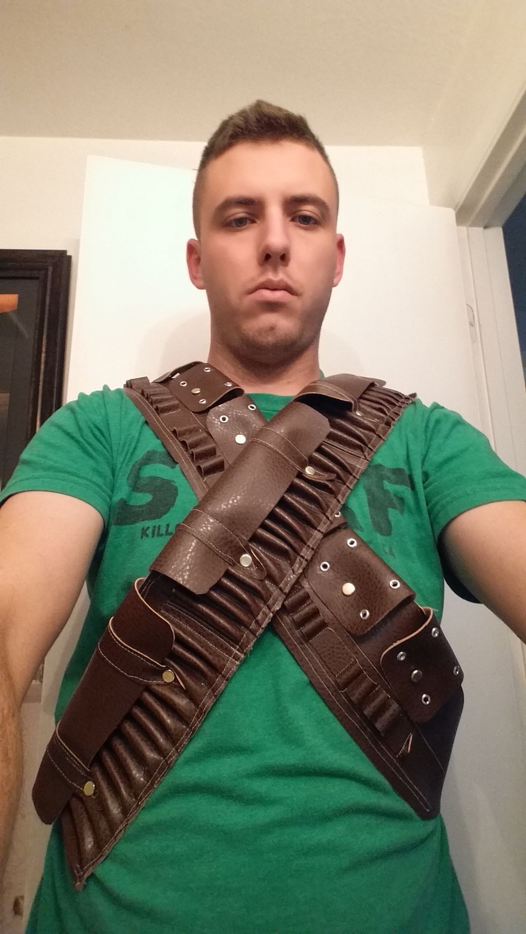 So I decided I really like the look of the Martini Henery bandolier. I studied some screen grabs and those wonderful behind the scenes pictures from the thr...