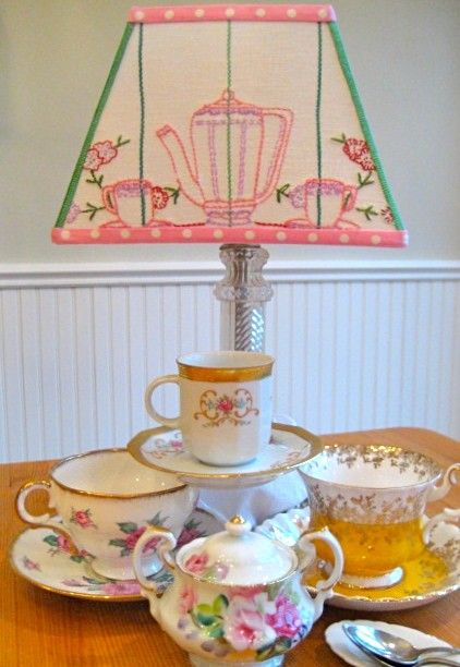 CYBER SALE  Tea Time Vintage Lampshade by Sassyshades on Etsy,