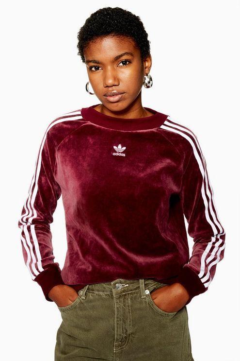 adidas Originals' Velvet Hoodie Burgundy Black | HYPEBAE