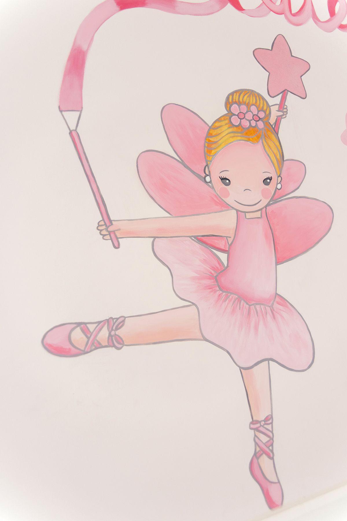 Detalle pintura mural - habitación infantil, princesa, hada y bailarina.