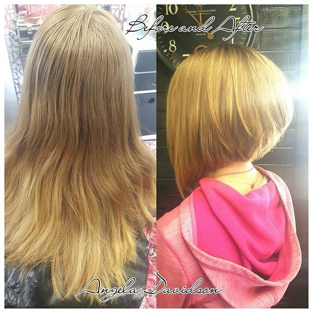 Lopped off all her long heavy hair! Now she has a cute, spunky, stacked a line for summer! She's such a cutie! #Angeladoeshair #shampoodollssalon #aline #stacked #blonde #haircuts #newlook #redkenstylers #texture