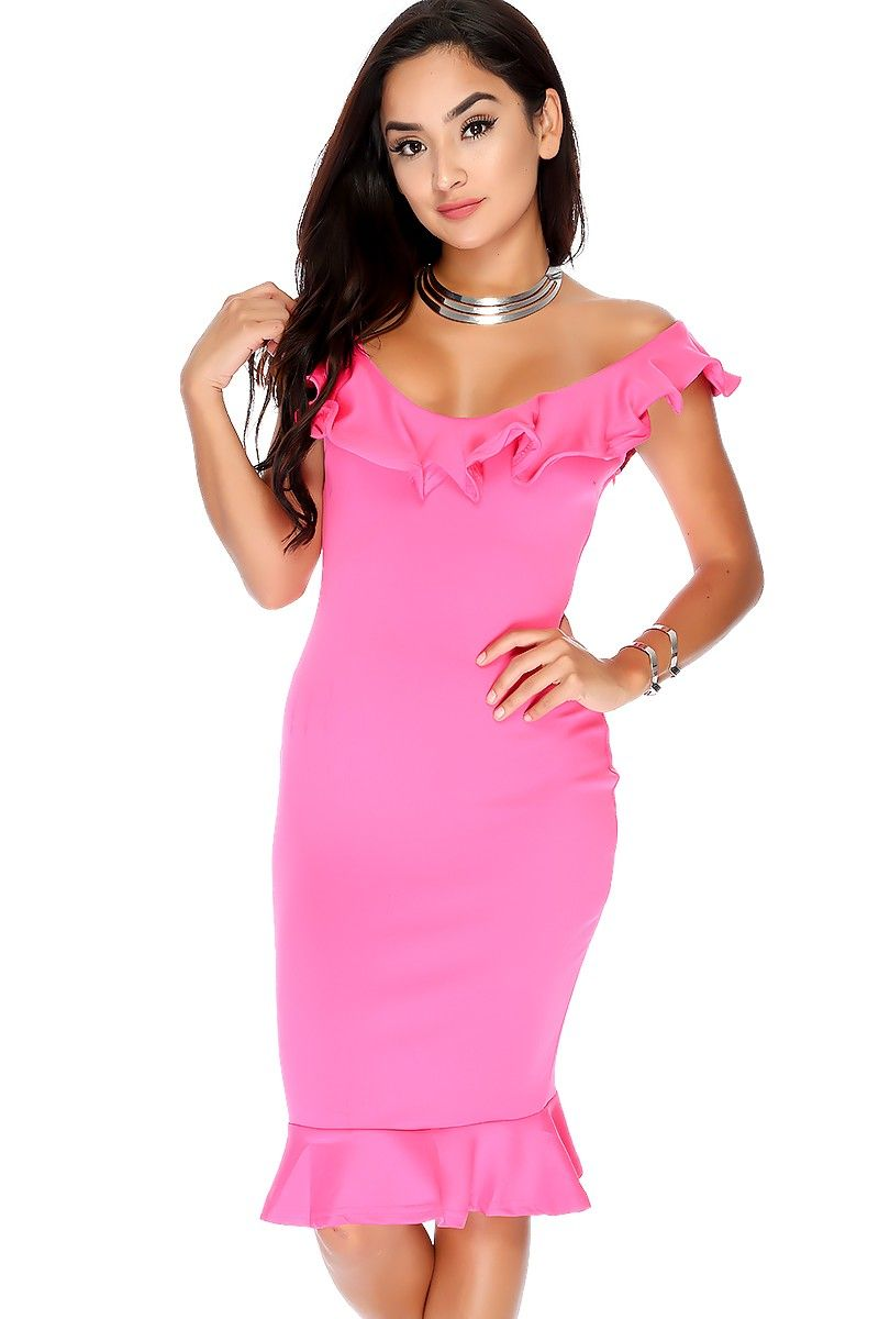 Sexy Fuschia Ruffled Detailing Off The Shoulder Knee Length Party ...