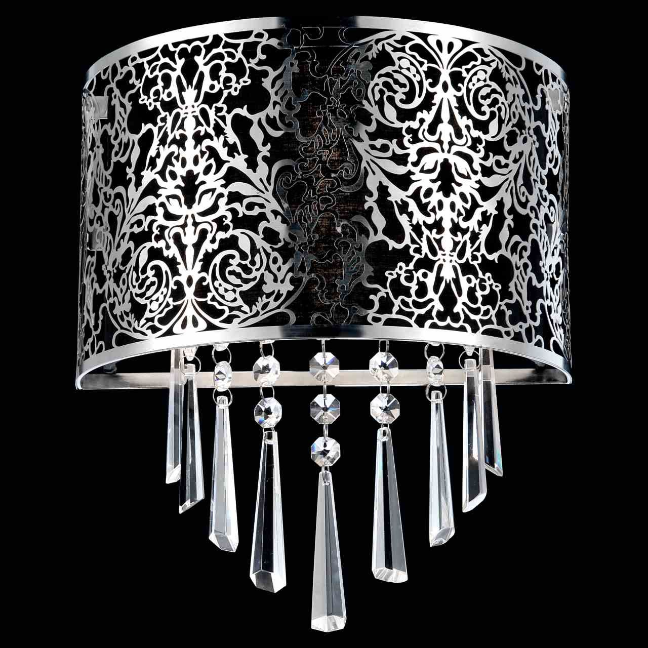 12 Drago Modern Crystal Round Laser Cut Stainless Steel Shade Black Fabric Wall Sconce 2 Lights