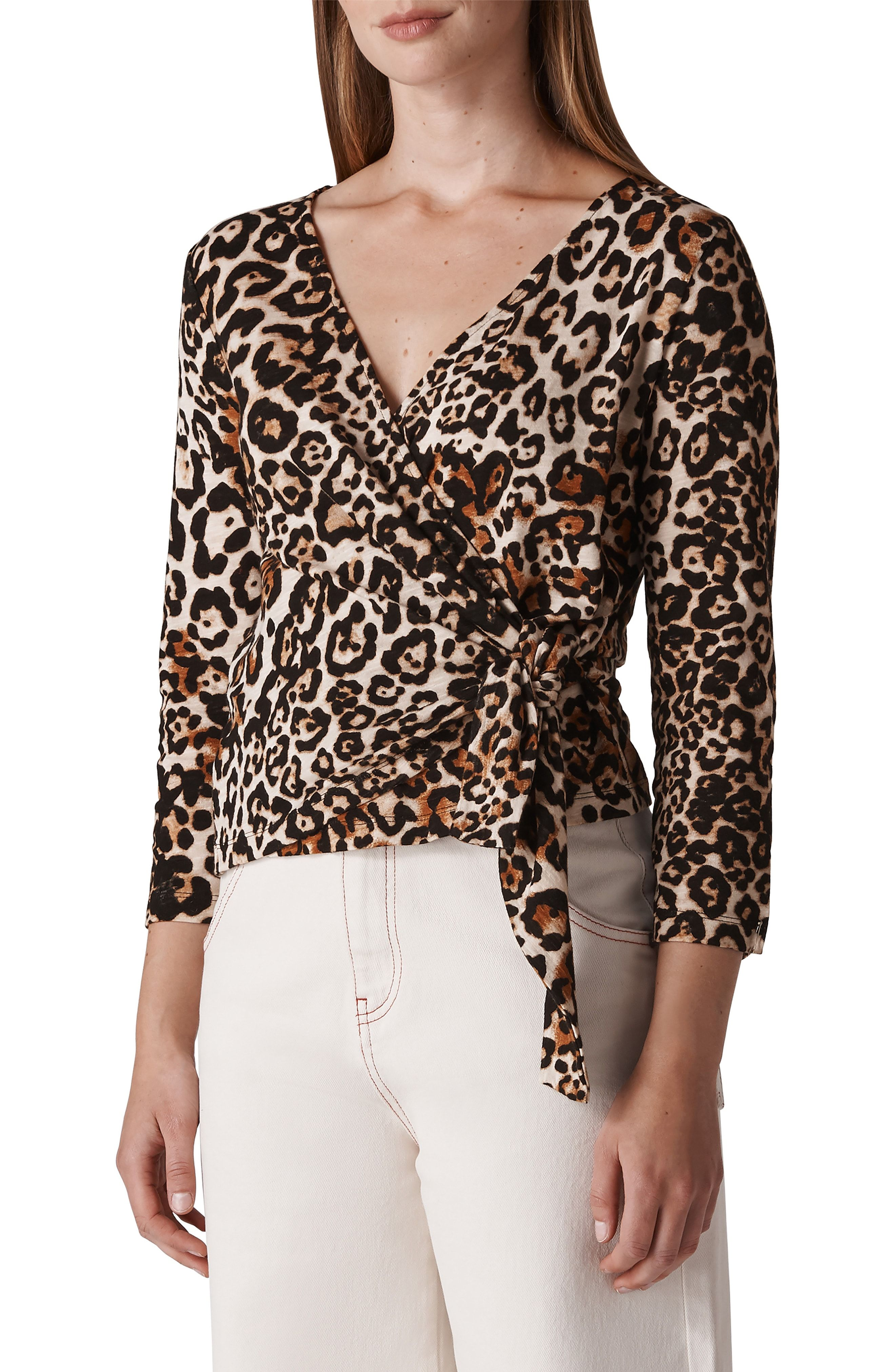 9f9920c6348ccb WHISTLES Leopard Print Wrap Top available at  Nordstrom