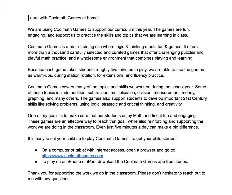 Coolmath Games Letter To Parents