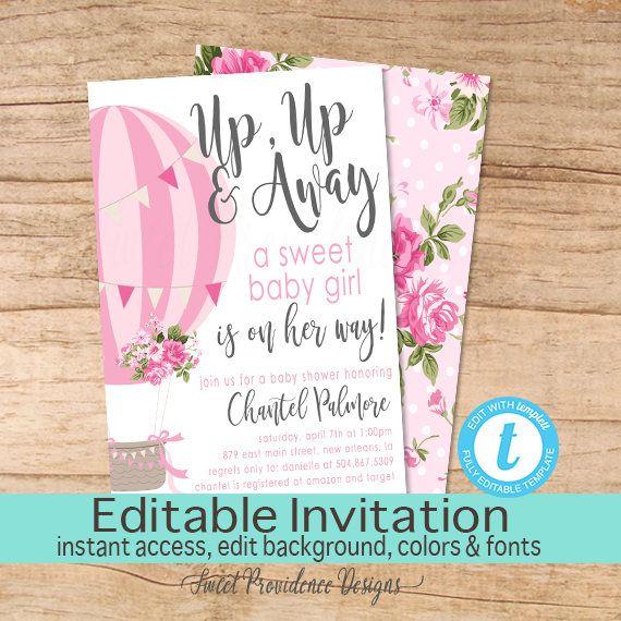 Balloon Baby Shower Invitation \/ Hot air balloon invitation\/ Pink - editable baby shower invitations