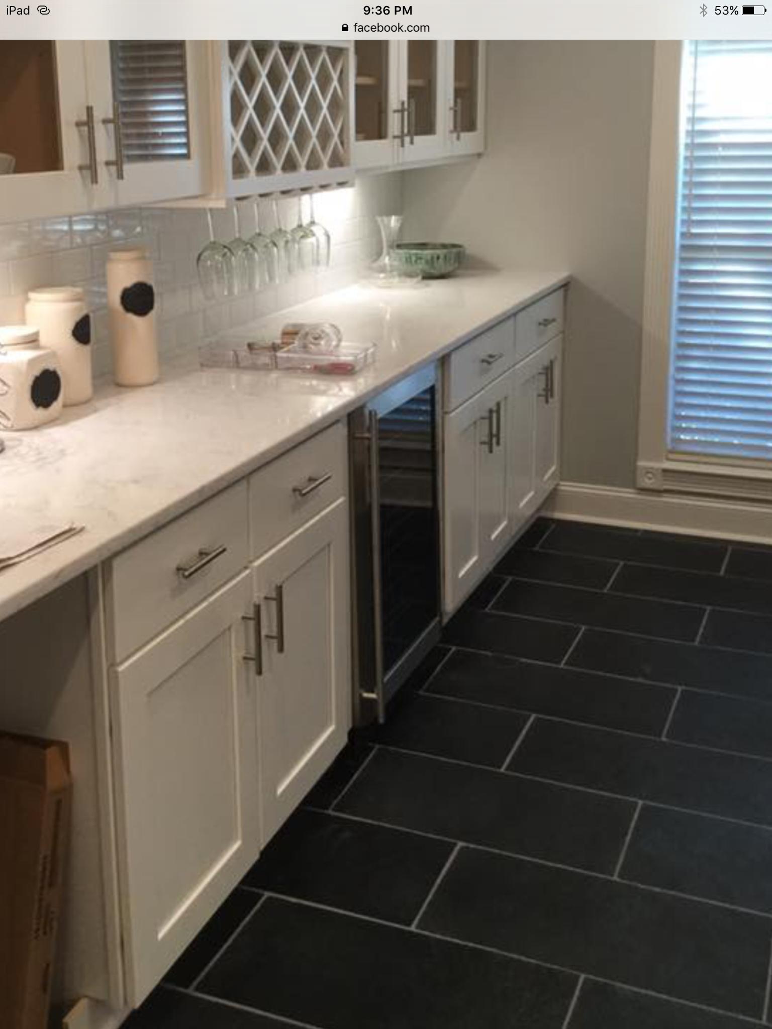 black slate  kitchen cabinets tile floor home decor
