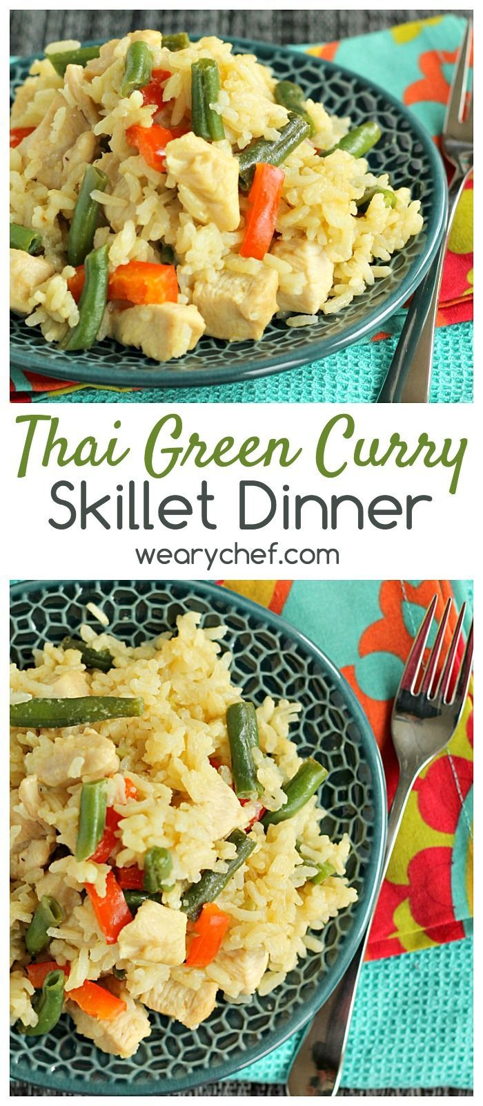 If you love Thai Green Curry and skillet dinners, this easy recipe will be one of your new favorites!