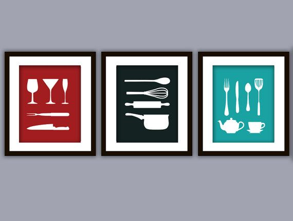 discount kitchen art print any color set of three. beautiful ideas. Home Design Ideas