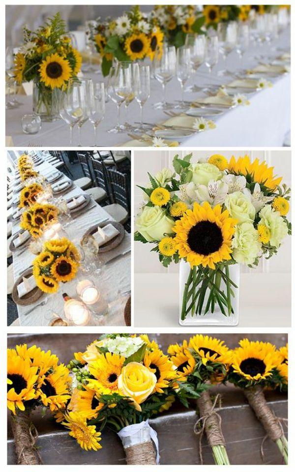tischdeko zur hochzeit deko sonnenblumen hochzeit deco hochzeit und sonnenblumen. Black Bedroom Furniture Sets. Home Design Ideas