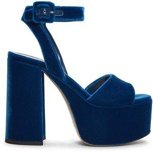 add39988c04 Miu Miu Blue Velvet Platform Sandals