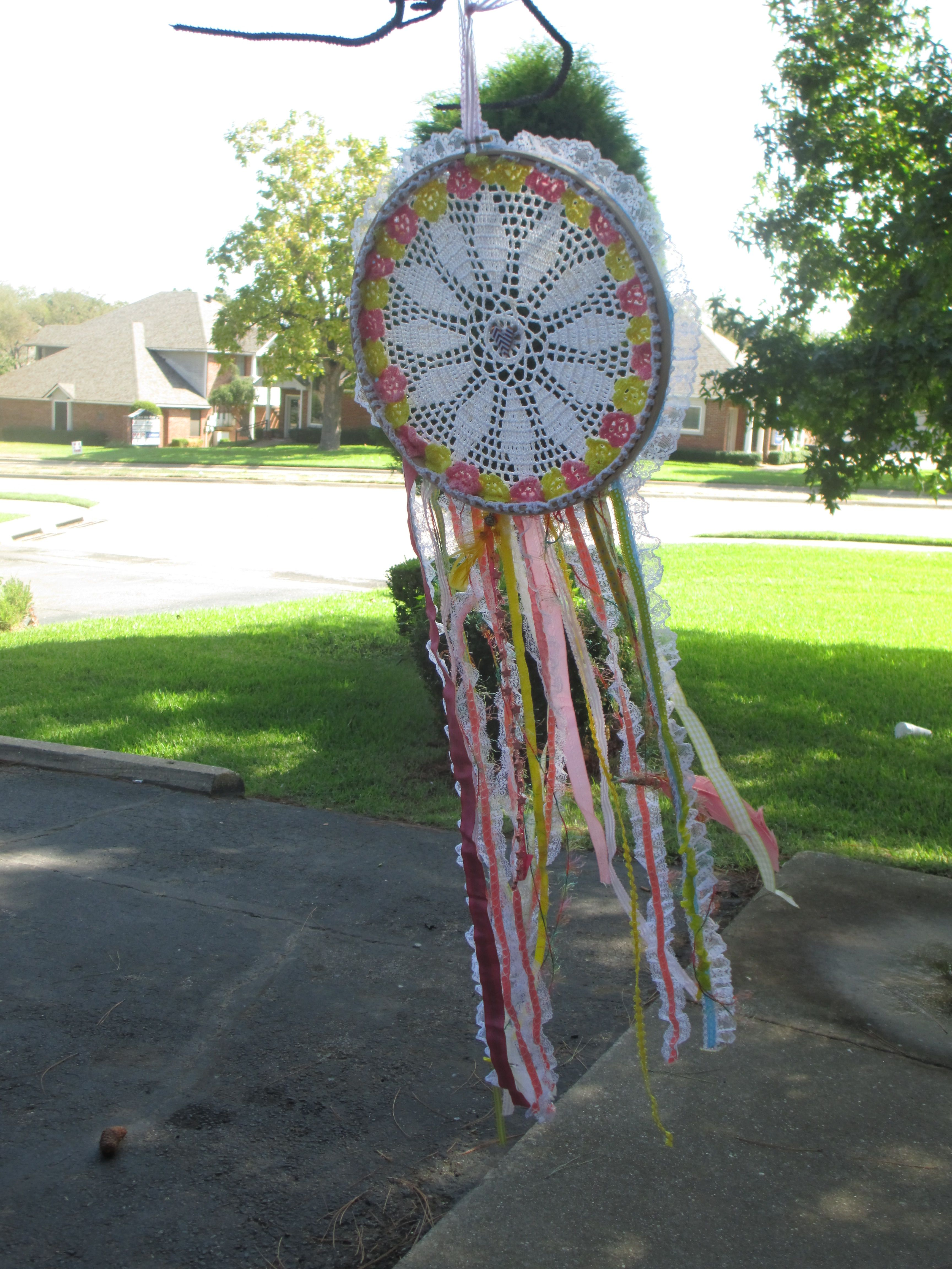 Made some dream catchers!   Love how the wind came in.