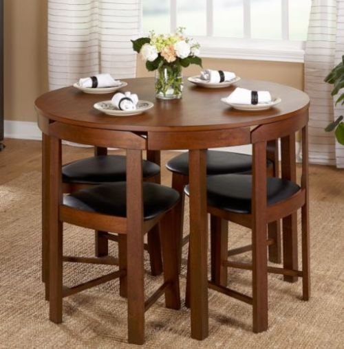 Compact Dining Set Chairs And Table Home Kitchen Wooden Furniture