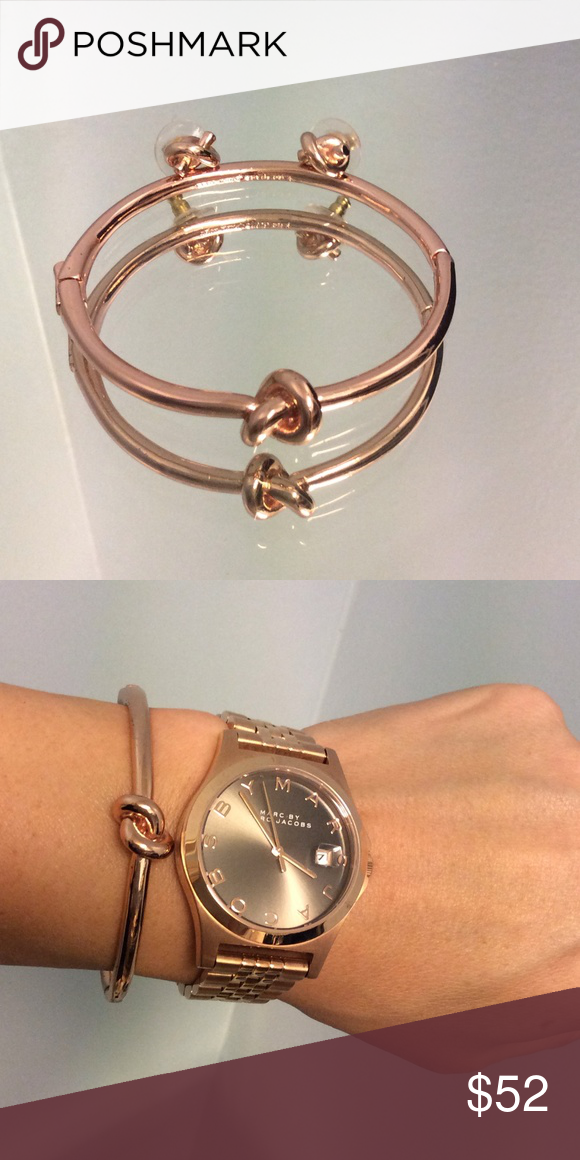 Kate Spade rose gold bracelet AND earrings Marc jacobs watch Gold