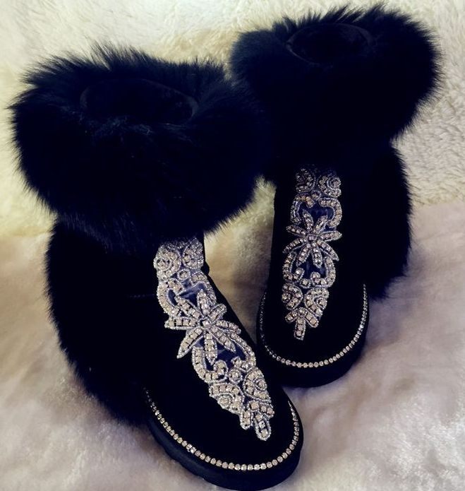 88.90$  Buy now - http://alizz5.worldwells.pw/go.php?t=32757286944 - Luxury! Genuine leather fox fur warm winter short boots shoes for women PR376 the heavy hand sew rhinestones pink black boots 88.90$