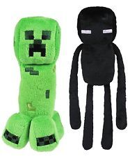 """NEW Official Set Of 2 Creeper & Enderman Minecraft Monster 7"""" Plush Toy Doll"""