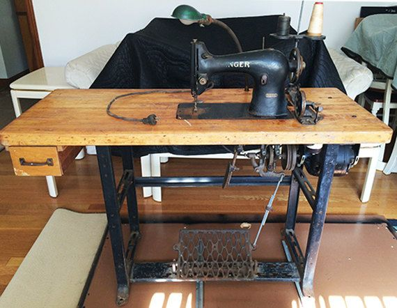 Antique Singer 95 1 Industrial Sewing Machine Thick Wood Top With Single Drawer Filled With A Industrial Sewing Industrial Sewing Machine Antique Sewing Table