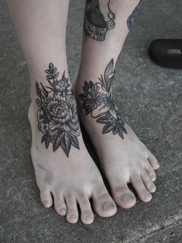 Floral Foot Tattoos : floral, tattoos, Dainty, Ankle, Tattoos, Girls, Tattoos,, Women,, Floral, Tattoo