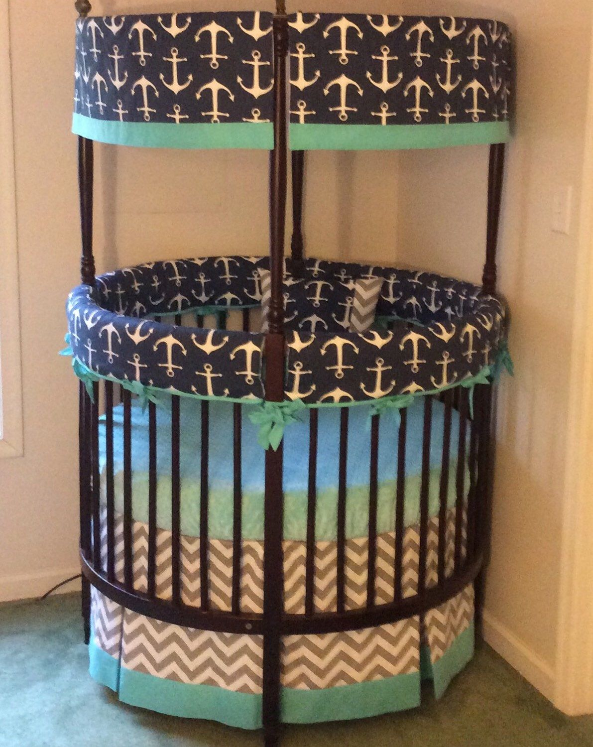 Ellery round crib for sale - Anchor Round Crib Bedding Made To Order Deposit