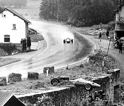 1965 Belgian GP, Spa-Francochamps - Jim Clark in his Lotus, battling hard with the weather conditions in his way to take the checkered flag .!