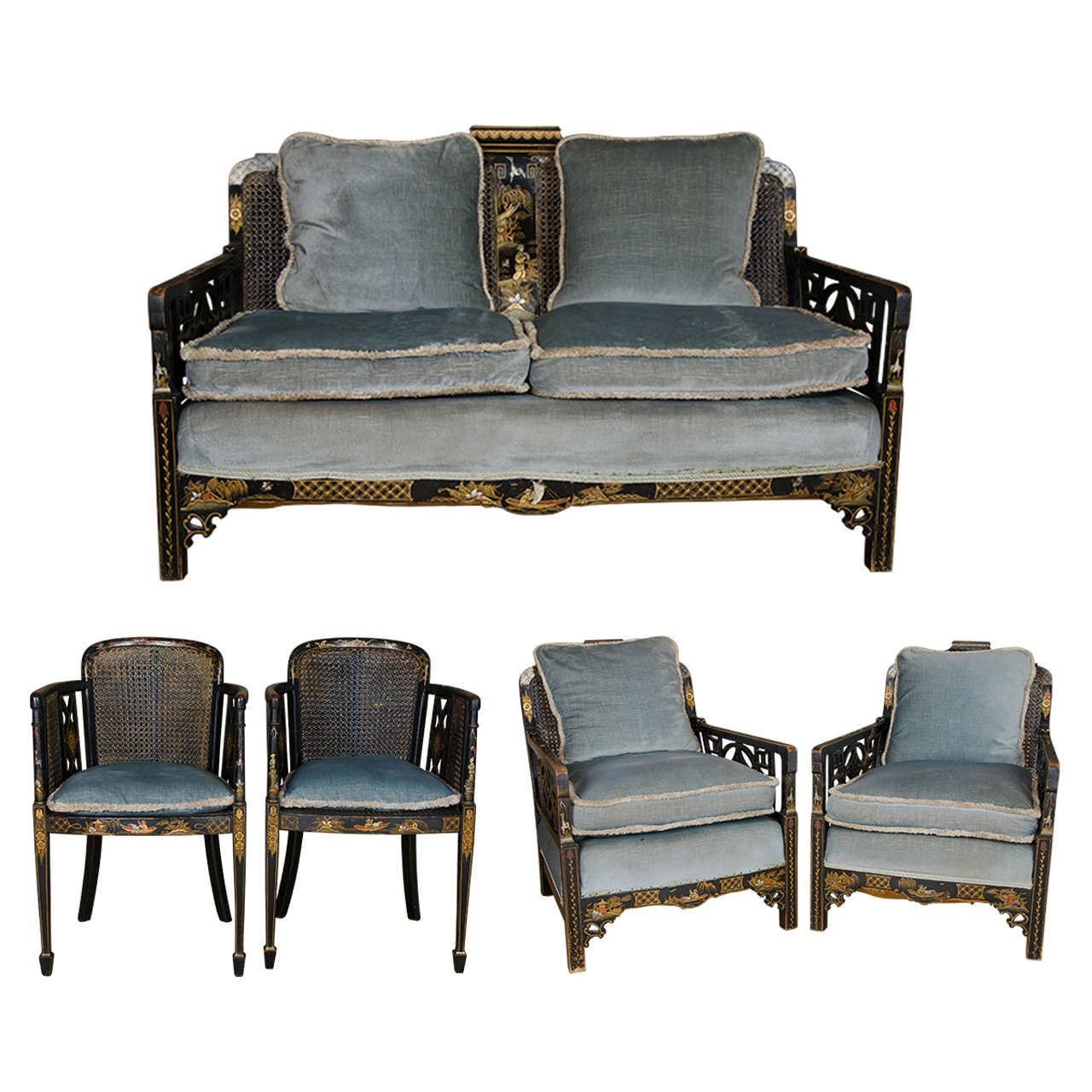Chinoiserie Lacquered Sofa and Armchairs Set Bergere Suite | From a ...