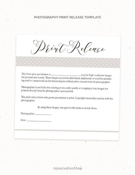 Photography Print Release Form Template Photography Template Etsy Print Release Photography Print Photography Templates