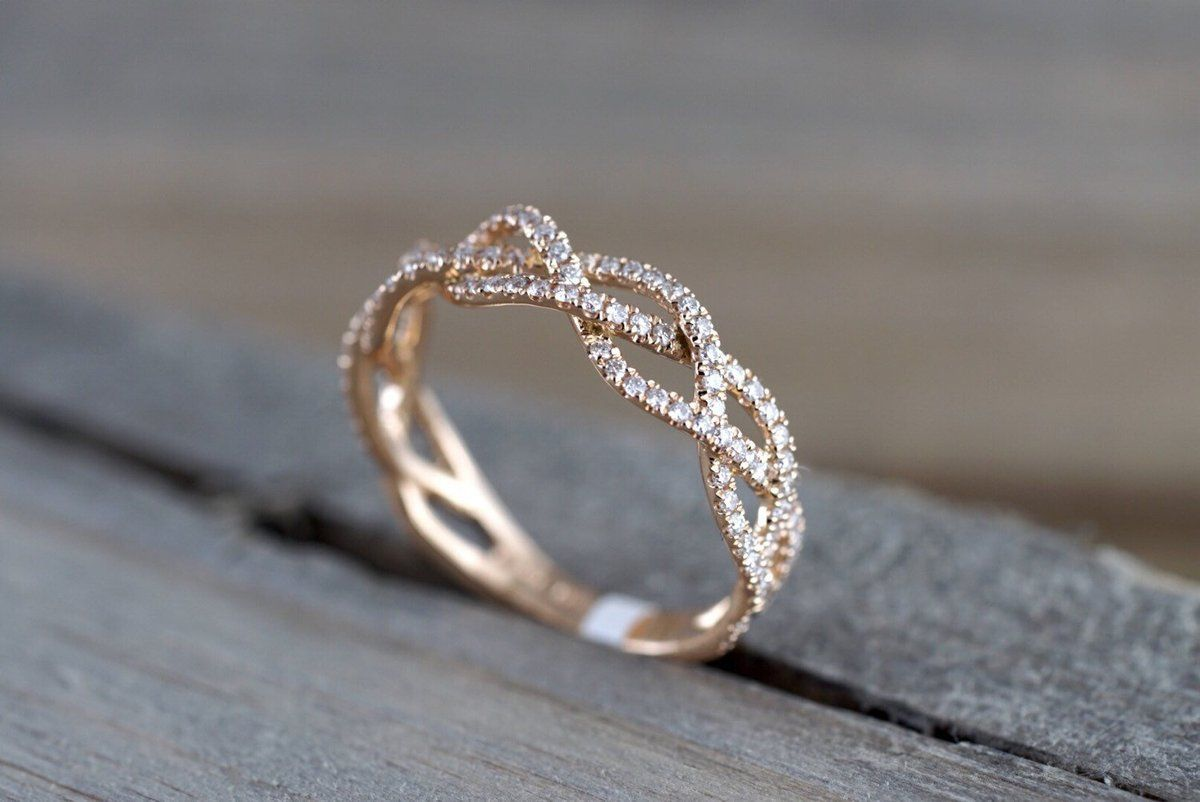14k Rose Gold 3/4 Diamond Infinity Intertwined Twist Braid Band Promise Ring #diamondrings