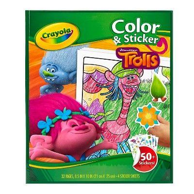 Crayola Color Sticker Trolls Target Coloring Stickers Sticker Book Crayola