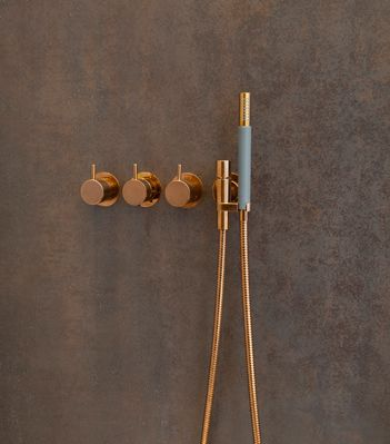 Vola Bathroom Products In Copper Rose Gold Available From