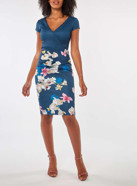 Dorothy Perkins Scarlett B Blue Floral Bodycon Dress