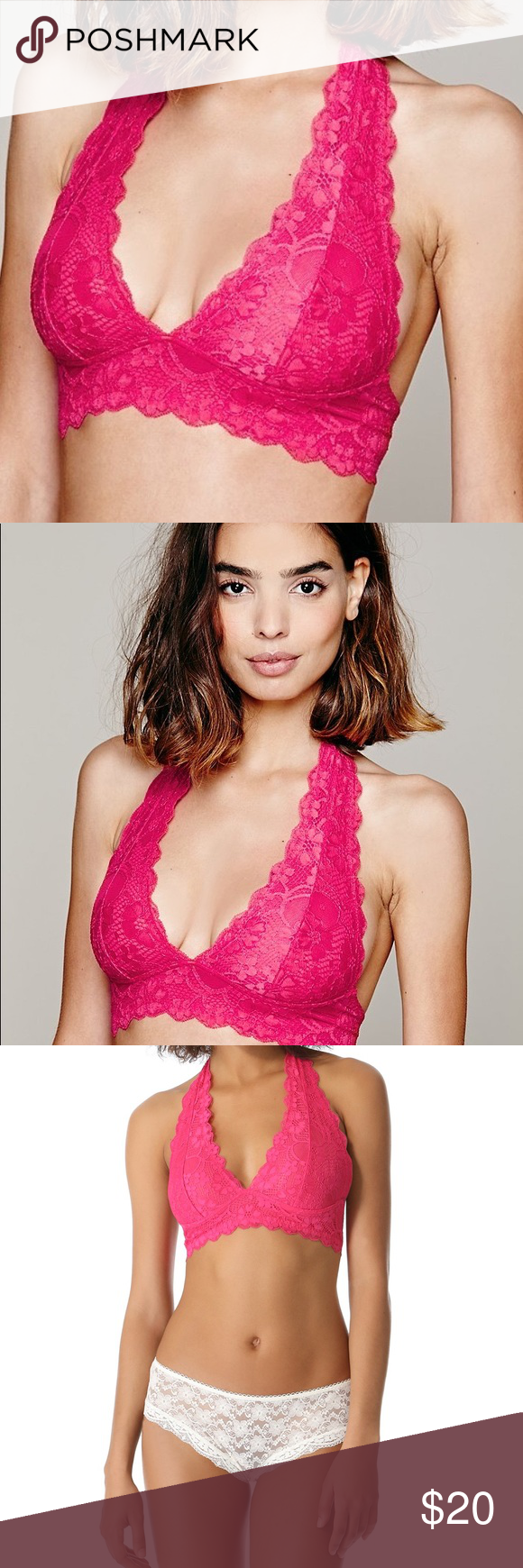 ca8d579557 Free People Galloon Lace Halter Bra Bralette S NEW Hot pink bralette  Summery gorgeous bright color Size small Brand new! Free People Intimates    Sleepwear ...