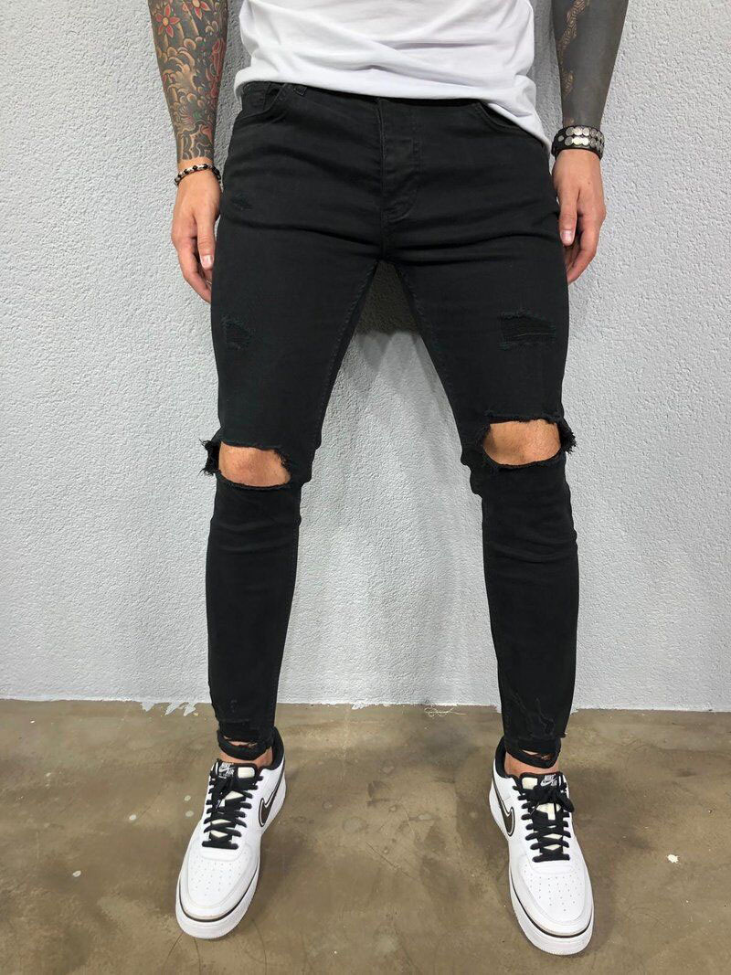 Pantalones Vaqueros Ajustados De Diseno Chulo Para Hombre Pantalones De Mezclilla Rasgados E Pantalones De Hombre Moda Pantalones Negros Hombre Ropa De Hombre
