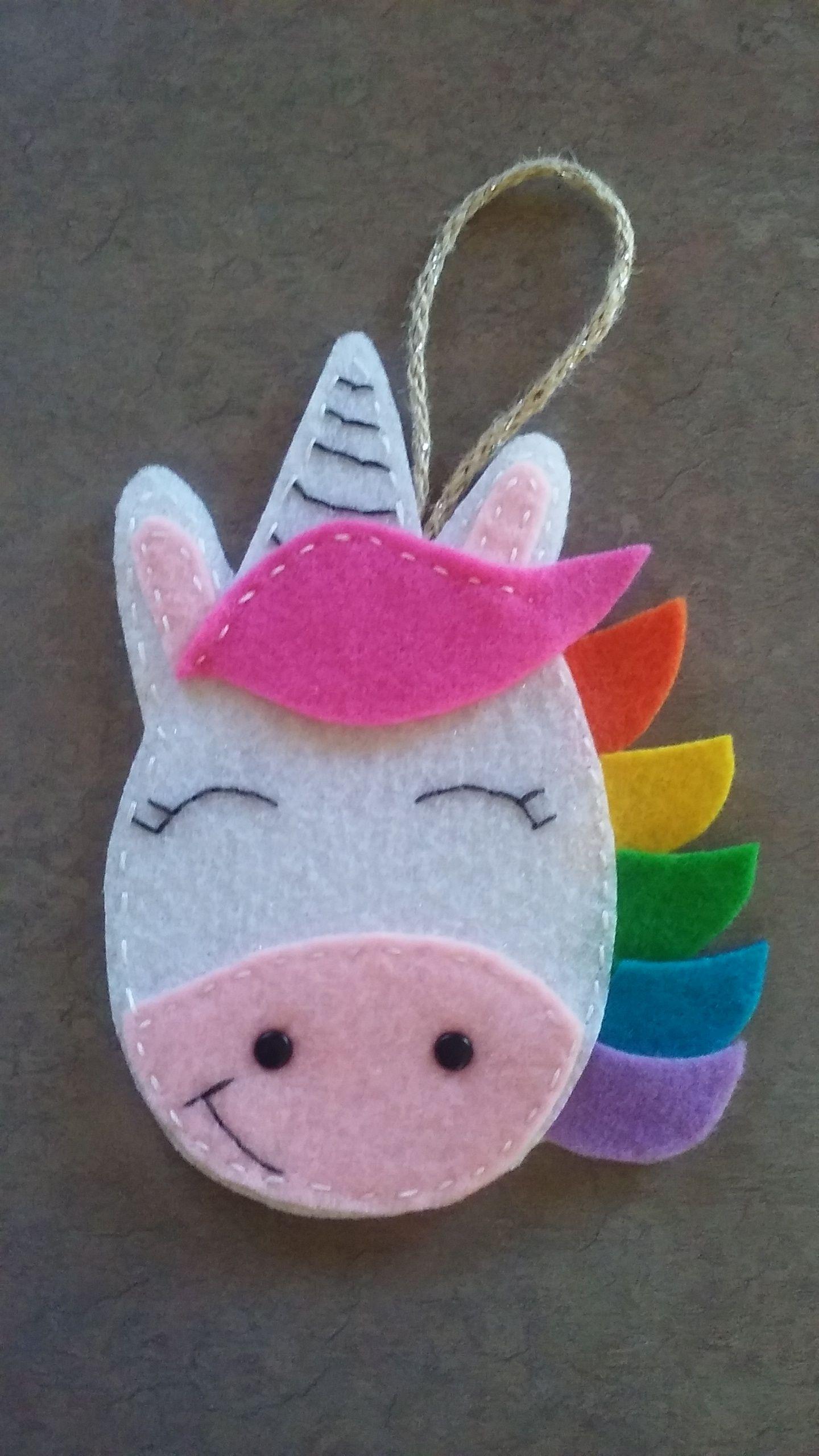 Felt Unicorn Ornament Rainbow Magic Handstitched Felt Crafts Diy Craft Projects For Kids Diy Christmas Ornaments Easy