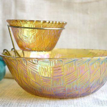"Set Of 2 Vintage Yellow Amber Glass Dessert Salad Appetizer Bowls 5/""x 2/"" Nice"