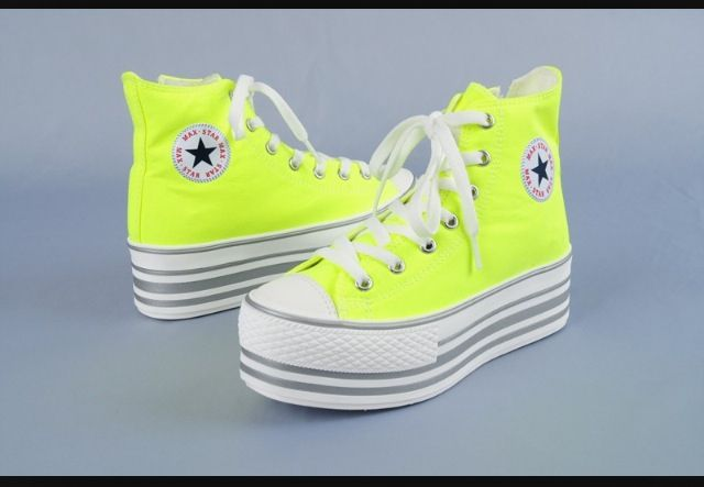 I need these chucks!!! #neon #platform #chucktaylors