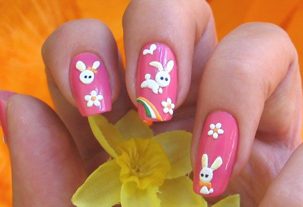 Easter Rabbit Nails Easter Nail Art In 2018 Easter Nail Art