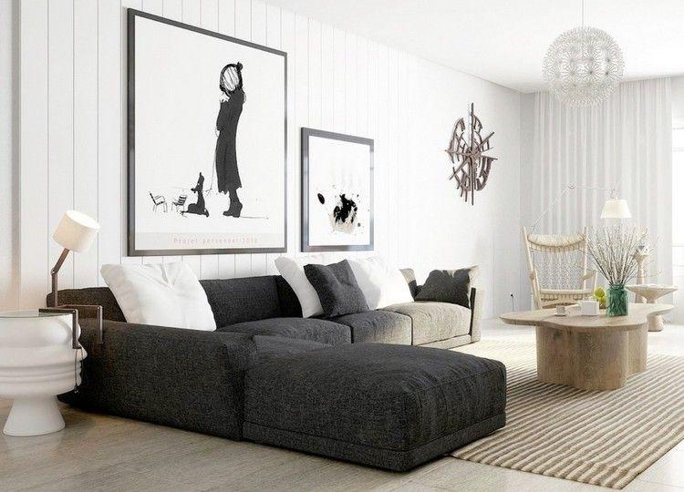 graues Ecksofa mit weißen Kissen und abstrakte Wandbilder Sofa und - wohnzimmer bilder abstrakt
