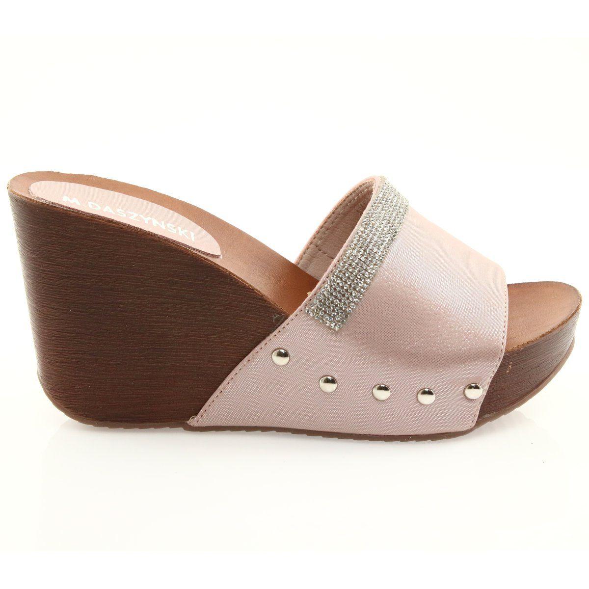 Eleganckie Klapki Damskie Daszynski Klapki Na Koturnie Daszynski Z Cyrkoniami Heels Shoes Heeled Mules