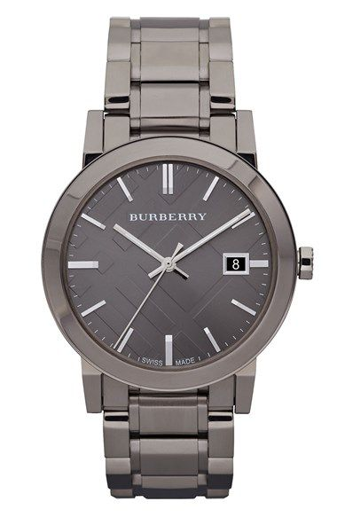 burberry large check stamped bracelet watch