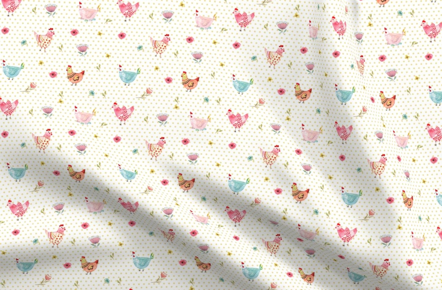 Chicken Satin Fabric Fat Quarter Polka Dot Girls Yellow Farm Animal Nursery Dots Hen Animals Red Pink  By Spoonflower