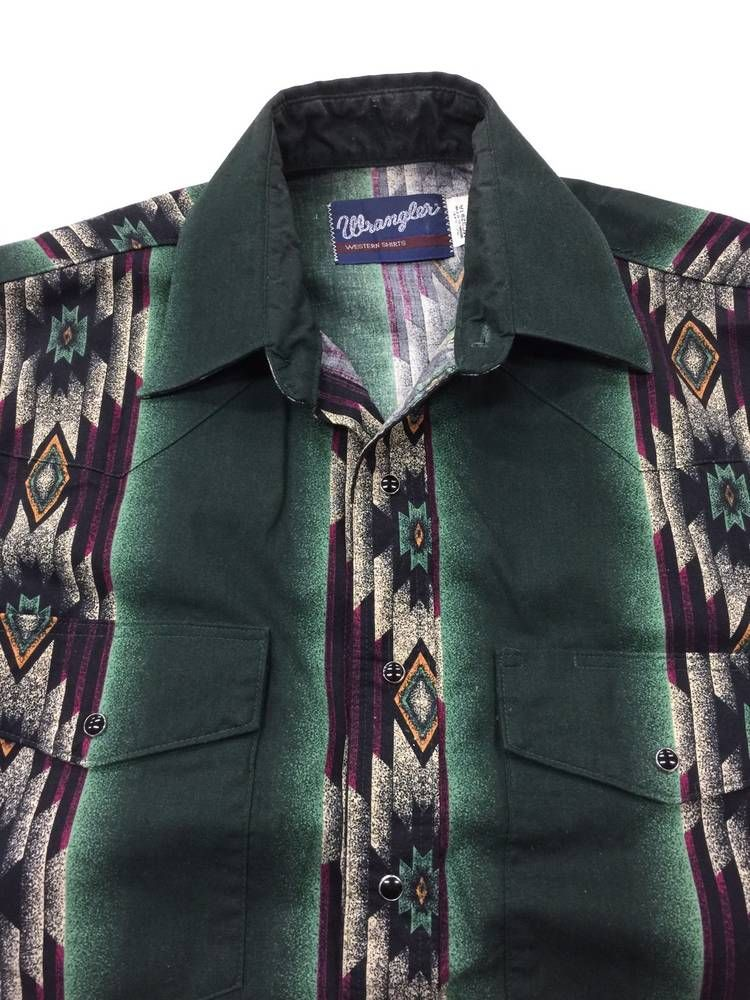 9455ae32 WRANGLER Pearl Snap Shirt Green Purple Western Navajo Aztek Men's Medium  Cowboy #Wrangler #Western