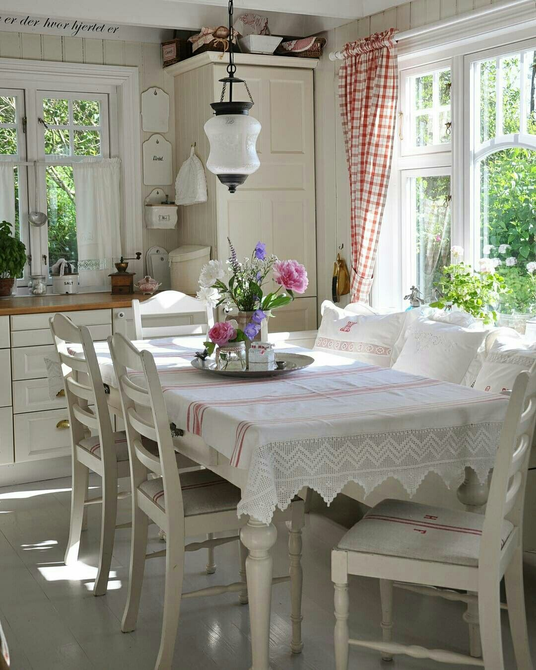 What an adorable white and cream kitchen with paneled walls So cozy ...