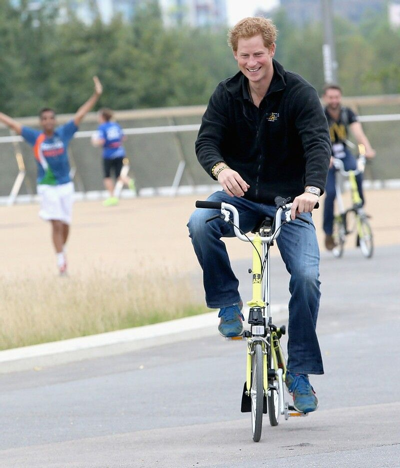 Britain S Prince Harry On A Brompton Folding Bike London